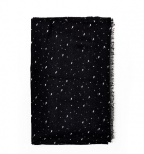 Sciarpa lunga leggera nera e bianca con fulmini Nalì