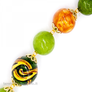Bracciale agata verde con sfere in ceramica di Caltagirone - Gioielli Siciliani