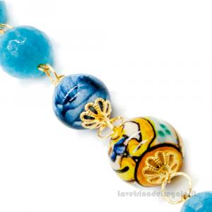 Bracciale agata azzurra con sfere in ceramica di Caltagirone - Gioielli Siciliani