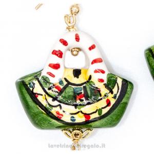 Orecchini con agata verde e coffa siciliana in ceramica di Caltagirone - Gioielli Siciliani