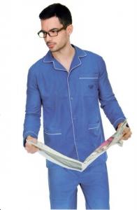 Pigiama uomo in flanella di cotone tinta unita con giacca aperta DIPLOMAT