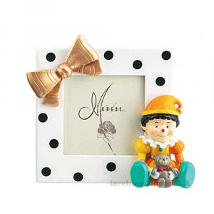 Portafoto con Giullare colorato in resina 11x13.5 cm - Bomboniera bimbo