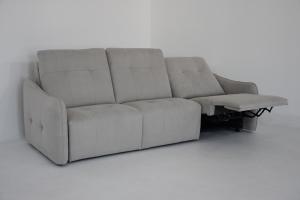 CANDIDE - Divano letto relax 3 posti in tessuto tecnico antimacchia e antigraffio con recliner elettrico e presa USB