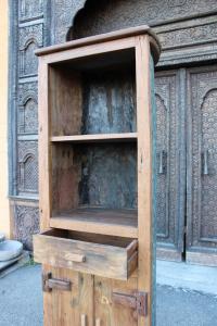 Credenza alta in legno di teak recuperato da barche
