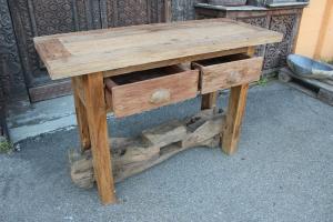 Consolle con trave di legno di teak recuperato