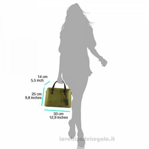 Borsa Verde a Mano con tracolla in pelle - Vanessa - Pelletteria fiorentina