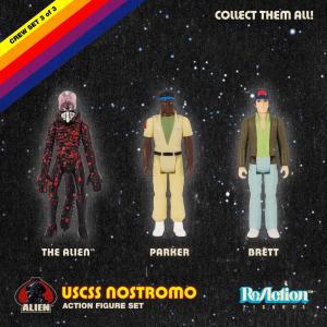 *PREORDER* Alien ReAction Action Figure: PACK B - ALIEN/PARKER/BRETT by Super7