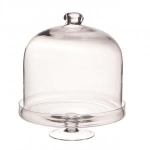 Portatora in vetro con cupola in vetro cm.40h diam.32,5