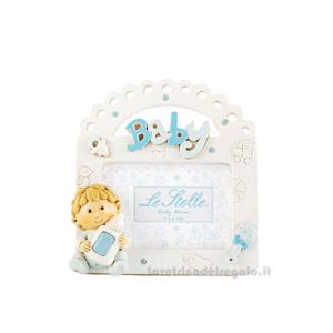 Portafoto Baby bambino Celeste in resina 10x10 cm - Bomboniera battesimo bimbo