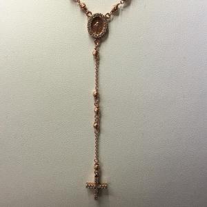 Collana rosario in argento 925 media con zirconi unisex