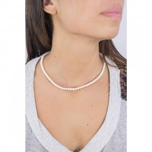 Collana in oro bianco 18kt e perle comete gioielli moschettone basic