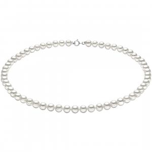 collana in oro bianco 18kt e perle comete gioielli moschettone basic lunghezza 45 cm