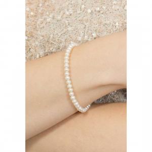Bracciale perle da donna Comete gioielli con moschettone basic in oro bianco