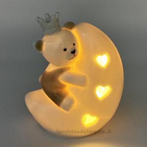 Orsetto sulla luna con luce LED in porcellana 11 cm H - Bomboniera battesimo e comunione