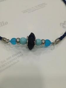 Collana donna Osa cod. 70100 blu con ciondolo perla di murano