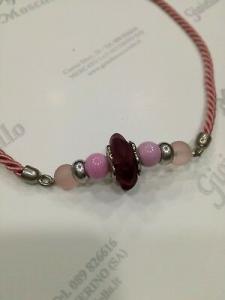 Collana donna Osa cod. 70100 rosa con ciondolo perla di murano
