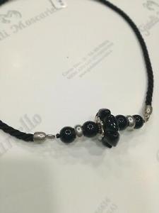 Collana donna Osa cod. 70100 nero con ciondolo perla di murano