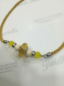 Collana donna Osa cod. 70100 giallo con ciondolo perla di murano