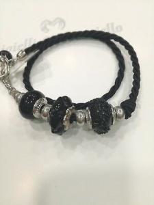Bracciale donna Osa cod. 70104 nero con ciondolo perla di murano