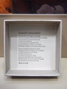Orecchini pendenti Cameo Italiano con Cameo Inciso a Mano  O94L LISTINO 150