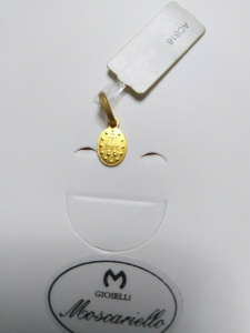 Medaglia miracolosa in oro giallo 18 kt 750%   Pendent Sacred yellow  gold 42/20