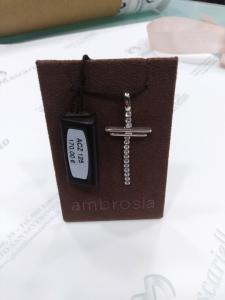 Ciondolo croce in oro bianco con zirconi 18 kt  750% Ambrosia Gioielli ACZ125
