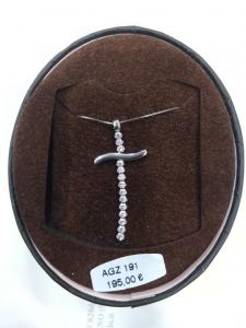 Collana con croce in oro bianco con zirconi 18 kt  750% Ambrosia Gioielli ACZ125