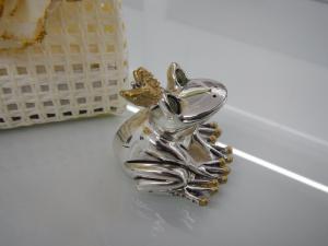Rana laminata argento Valenti Lucky Gold con sacchetto