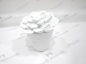 Succulenta  in resina bianco Mascagni cod. 20QA608
