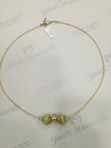 Collana donna La Murrina classica con doppia pietra murano oro/verde Listino 50