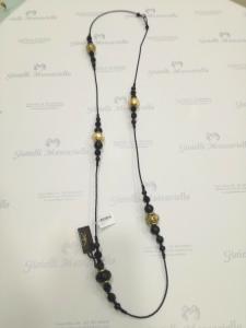 Collana donna lunga  La Murrina classica 74012 nera con murano oro LISTINO 89,90