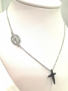 Collana sacra donna Manuel Zed con croce in acciaio Q2311_5505