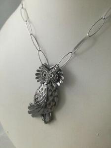Collana lunga  in argento 925  Artlinea con ciondolo Gufo ZCL938-ML