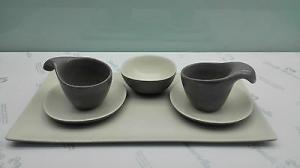 Set caffè in grès porcellanato Lineasette cod. K672 Tazze moderne Made in Italy