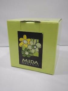 Vaso in vetro verde con applicazioni laminate argento 120839-20