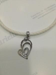 Collana Blu Amante in pelle bianca  con ciondolo cuore in argento 925 BBR935OR