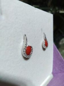 Orecchini in argento 925 con corallo e zirconi bianchi 11/20