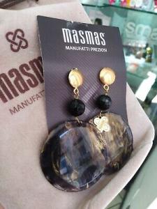 Orecchini grandi MasMas pendenti nero oro pietre dure Made in ITALY OR/023