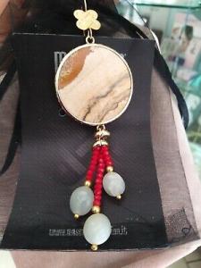 Orecchini grandi MasMas pendenti beige rosso pietre dure Made in ITALY OR/061