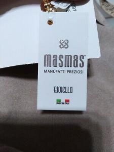 Collana lunga 90 cm  con pietre dure bianco/oro MasMas  Made in ITALY CL074