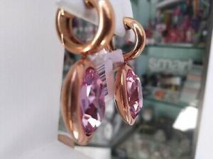 Orecchini pendenti in acciaio con galvanica rosè Qudo Jewerly