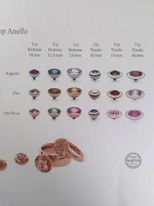 Anello componibile in acciaio rosè Qudo Jewerly + Top tondo 13 mm rosa