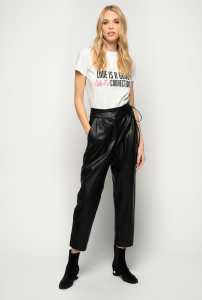 SHOPPING ON LINE PINKO PANTALONI EFFETTO PELLE CON CINTURA SOTTILE NEW COLLECTION WOMEN'S SPRING SUMMER 2021
