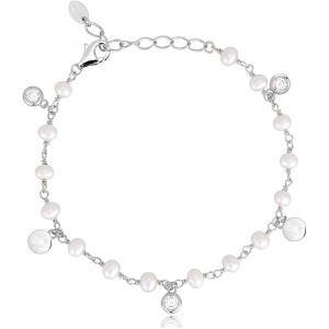 Mabina Bracciale Argento - Perle e punti luce alternati.