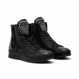 Sneaker alta/anfibio nera con borchie Crime London