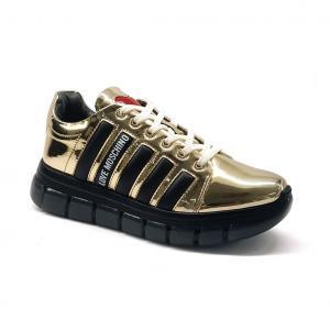 Sneaker platino/nera Love Moschino