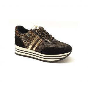 Sneaker platform nera/animalier NeroGiardini