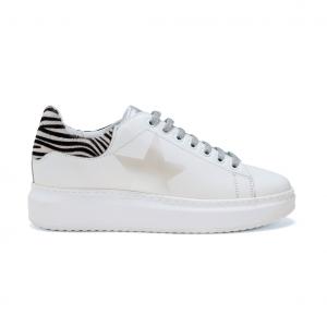 Sneaker bianca con tallone animalier NiRa Rubens