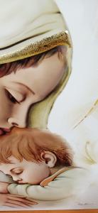 Capoletto in legno  Made in Italy raffigurante Madonna con Bambino cm. 34 x 65