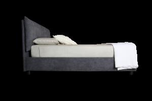 Letto Piazza e mezzo con Box CONTENITORE, Rete a Doghe in Legno ed Elegante Testiera, Tessuto Imbottito SFODERABILE color Ghiaccio | ARLES